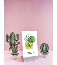 2021-es asztali naptár fa talppal - Növényes