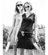 DORI kapucnis rövid pamut nyári ruha, almazöld