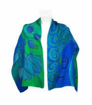 Kék-zöld selyemsál lótuszokkal