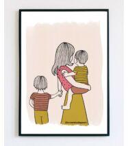 Illusztráció - Anyuka két kisfiúval