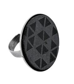 KORUND gyűrű, fekete-szürke