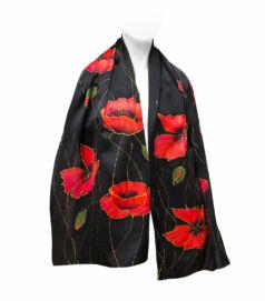 Fekete selyemsál pipacsokkal (charmeuse)