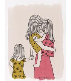 Illusztráció - Anyuka két kislánnyal
