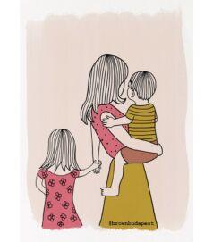 Illusztráció - Anyuka kisfiúval és kislánnyal
