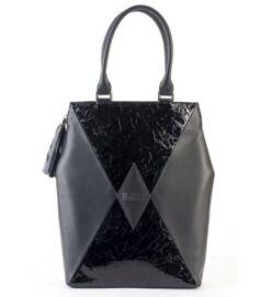 Kite city bag, fekete-gyűrt lakk
