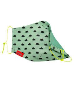 Maszk, halványzöld, mintás, zöld béléssel