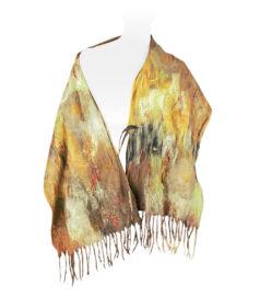 Nemezelt rojtos selyemsál merinói gyapjúból, okker