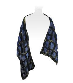 Nemezelt selyemsál merinói gyapjúból - sötétkék