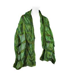 Nemezelt selyemsál merinói gyapjúból - zöld