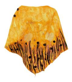 Poncsó merinói gyapjúból - okker