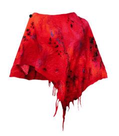 Poncsó merinói gyapjúból - piros
