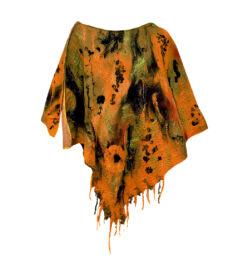 Poncsó merinói gyapjúból - zöld és sárga