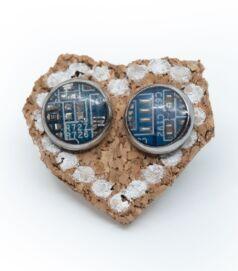 Bedugós fülbevaló alaplapból, acél foglalatban, kék