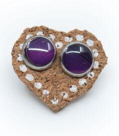 Bedugós fülbevaló alaplapból, acél foglalatban, lila