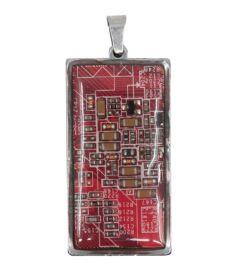 Téglalap medál alaplapból, acél hátlappal, piros
