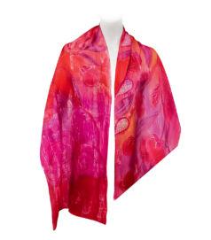 Kézzel festett selyem-szatén sál – ciklámen