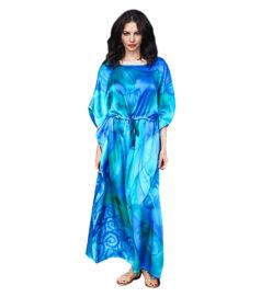 Türkiz-kék selyemruha lótuszokkal