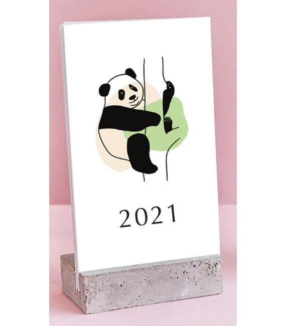 2021-es asztali naptár fa talppal - Állatos