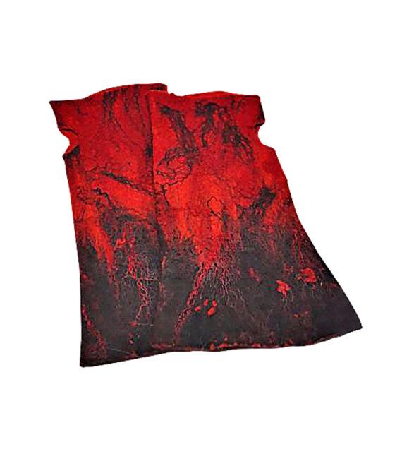 Nemezelt kesztyű merinói gyapjúból - piros