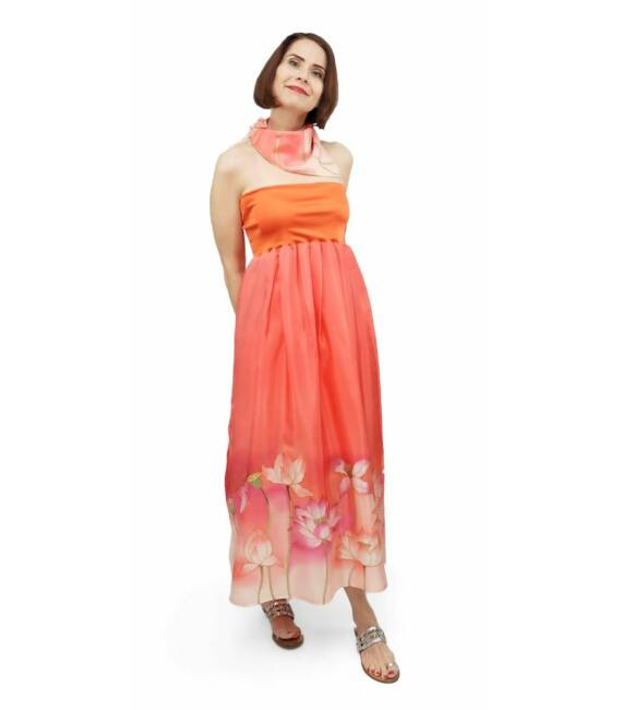 Narancssárga selyemruha lótuszokkal