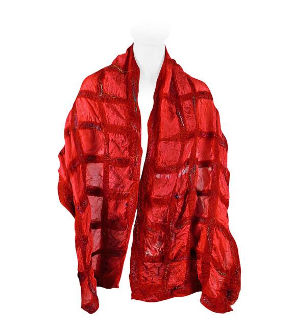 Nemezelt selyemsál merinói gyapjúból - piros